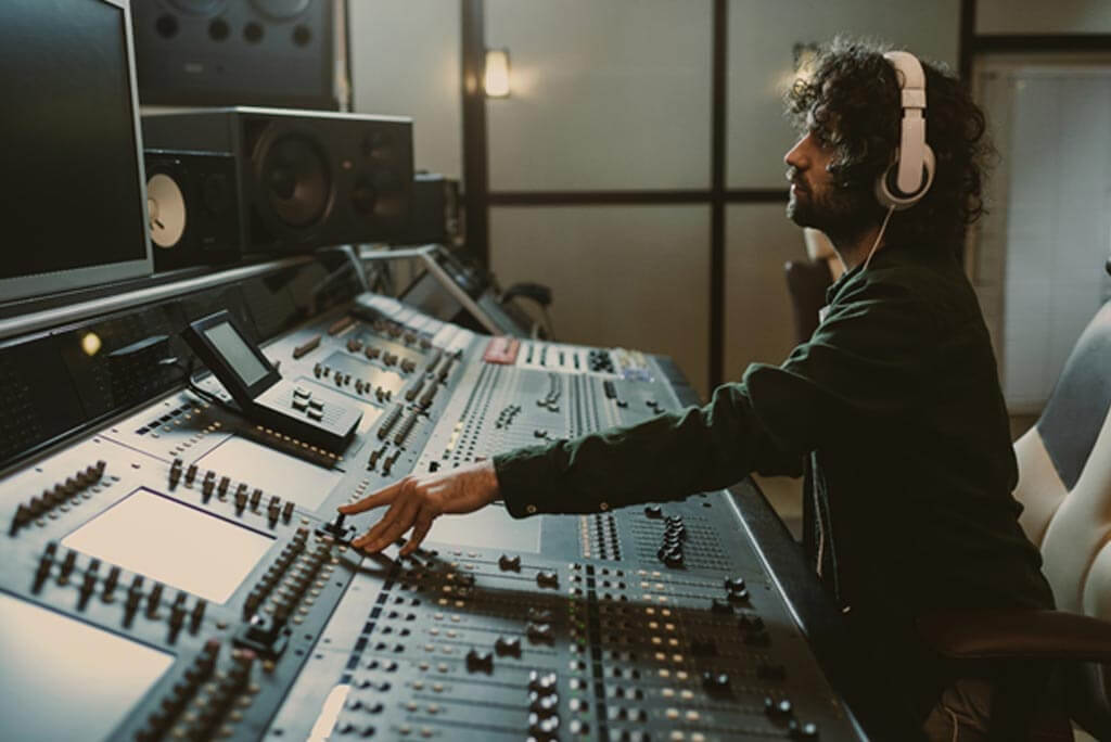 Audio operator at mixing console